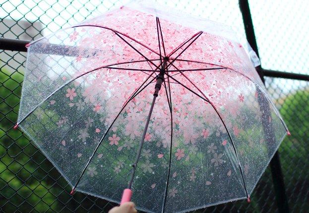 外面雨声潺潺,伞内樱花绽放~直柄的设计,在出门前那帅气的一个单手开